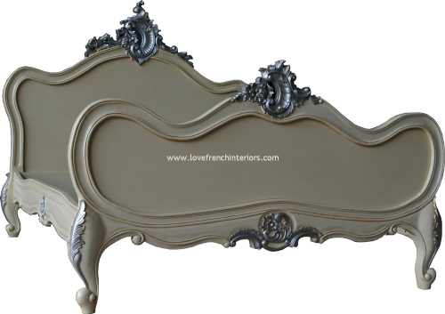 Cream and Silver French Louis Bed